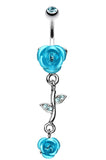 Bright Metal Rose Vine Dangle Belly Button Ring - 14 GA (1.6mm) - Aqua - Sold Individually