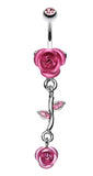 Bright Metal Rose Vine Dangle Belly Button Ring - 14 GA (1.6mm) - Light Pink - Sold Individually