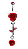 Bright Metal Rose Vine Dangle Belly Button Ring - 14 GA (1.6mm) - Red - Sold Individually