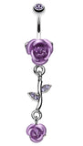 Bright Metal Rose Vine Dangle Belly Button Ring - 14 GA (1.6mm) - Blue - Sold Individually