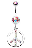 Sparkling Peace Charm Belly Button Ring - 14 GA (1.6mm) - Aurora Borealis/Rainbow - Sold Individually