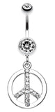 Sparkling Peace Charm Belly Button Ring - 14 GA (1.6mm) - Clear - Sold Individually
