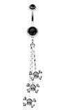 Skull & Crossbones Dangle Belly Button Ring - 14 GA (1.6mm) - Black - Sold Individually