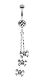 Skull & Crossbones Dangle Belly Button Ring - 14 GA (1.6mm) - Clear - Sold Individually