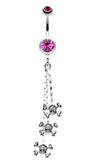Skull & Crossbones Dangle Belly Button Ring - 14 GA (1.6mm) - Fuchsia - Sold Individually