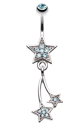 Sparkle Stars Belly Button Ring - 14 GA (1.6mm) - Aqua - Sold Individually