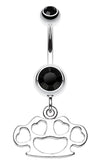 Multi Hearts Brass Knuckle Belly Button Ring - 14 GA (1.6mm) - Black - Sold Individually