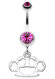 Multi Hearts Brass Knuckle Belly Button Ring - 14 GA (1.6mm) - Fuchsia - Sold Individually