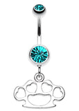Multi Hearts Brass Knuckle Belly Button Ring - 14 GA (1.6mm) - Teal - Sold Individually