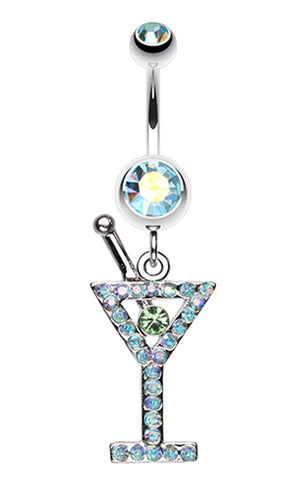 Martini Glass Sparkle Belly Button Ring - 14 GA (1.6mm) - Aqua/Aurora Borealis - Sold Individually