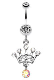 Crown Glass-Gem Sparkle Belly Button Ring - 14 GA (1.6mm) - Clear - Sold Individually