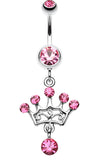 Crown Glass-Gem Sparkle Belly Button Ring - 14 GA (1.6mm) - Light Pink - Sold Individually