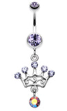 Crown Glass-Gem Sparkle Belly Button Ring - 14 GA (1.6mm) - Blue - Sold Individually