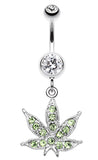 Marijuana Leaf Sparkle Belly Button Ring - 14 GA (1.6mm) - Clear - Sold Individually