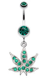 Marijuana Leaf Sparkle Belly Button Ring - 14 GA (1.6mm) - Green - Sold Individually