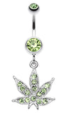 Marijuana Leaf Sparkle Belly Button Ring - 14 GA (1.6mm) - Light Green - Sold Individually