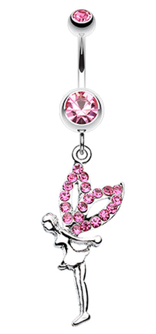 Fairy Dazzle Belly Button Ring - 14 GA (1.6mm) - Light Pink - Sold Individually