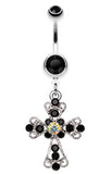Shimmering Cross Patonce Belly Button Ring - 14 GA (1.6mm) - Black - Sold Individually