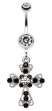 Shimmering Cross Patonce Belly Button Ring - 14 GA (1.6mm) - Clear/Black - Sold Individually