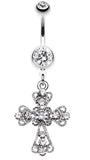 Shimmering Cross Patonce Belly Button Ring - 14 GA (1.6mm) - Clear - Sold Individually