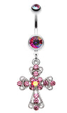 Shimmering Cross Patonce Belly Button Ring - 14 GA (1.6mm) - Pink/Aurora Borealis - Sold Individually