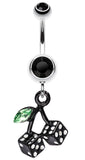 Vibrant Cherry Dice Belly Button Ring - 14 GA (1.6mm) - Black - Sold Individually