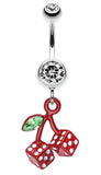 Vibrant Cherry Dice Belly Button Ring - 14 GA (1.6mm) - Clear - Sold Individually