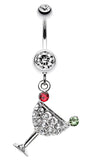 Sparkling Martini Glass Charm Dangle Belly Button Ring - 14 GA (1.6mm) - Clear - Sold Individually
