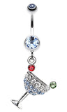 Sparkling Martini Glass Charm Dangle Belly Button Ring - 14 GA (1.6mm) - Light Blue - Sold Individually