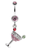 Sparkling Martini Glass Charm Dangle Belly Button Ring - 14 GA (1.6mm) - Light Pink - Sold Individually