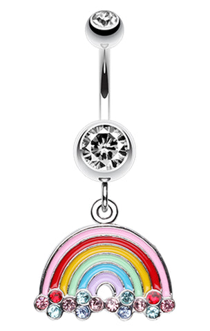 Candy Rainbow Sparkle Belly Button Ring - 14 GA (1.6mm) - Clear - Sold Individually