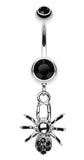 Spider Sparkle Belly Button Ring - 14 GA (1.6mm) - Black - Sold Individually
