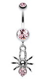 Spider Sparkle Belly Button Ring - 14 GA (1.6mm) - Light Pink - Sold Individually