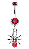 Spider Sparkle Belly Button Ring - 14 GA (1.6mm) - Red - Sold Individually