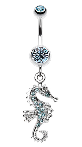 Sparkling Seahorse Dangle Belly Button Ring - 14 GA (1.6mm) - Aqua - Sold Individually