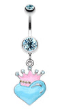Vibrant Crowned Heart Sparkle Belly Button Ring - 14 GA (1.6mm) - Aqua - Sold Individually