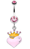 Vibrant Crowned Heart Sparkle Belly Button Ring - 14 GA (1.6mm) - Light Pink - Sold Individually