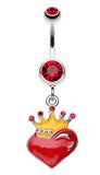 Vibrant Crowned Heart Sparkle Belly Button Ring - 14 GA (1.6mm) - Red - Sold Individually