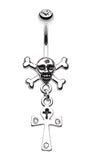 Cross Bones and Ankh Belly Button Ring - 14 GA (1.6mm) - Clear - Sold Individually