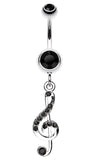 G Clef Music Note Sparkle Belly Button Ring - 14 GA (1.6mm) - Black - Sold Individually