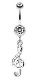 G Clef Music Note Sparkle Belly Button Ring - 14 GA (1.6mm) - Clear - Sold Individually