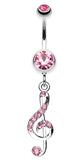 G Clef Music Note Sparkle Belly Button Ring - 14 GA (1.6mm) - Light Pink - Sold Individually
