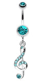G Clef Music Note Sparkle Belly Button Ring - 14 GA (1.6mm) - Teal - Sold Individually