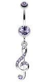 G Clef Music Note Sparkle Belly Button Ring - 14 GA (1.6mm) - Blue - Sold Individually
