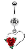 Heart Rose Belly Button Ring - 14 GA (1.6mm) - Clear - Sold Individually