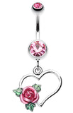 Heart Rose Belly Button Ring - 14 GA (1.6mm) - Light Pink - Sold Individually