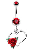 Heart Rose Belly Button Ring - 14 GA (1.6mm) - Red - Sold Individually