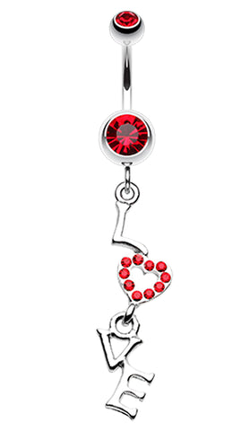 Dazzling Love Belly Button Ring - 14 GA (1.6mm) - Red - Sold Individually