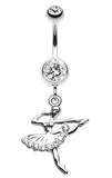 Elegant Ballerina Belly Button Ring - 14 GA (1.6mm) - Clear - Sold Individually