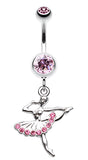 Elegant Ballerina Belly Button Ring - 14 GA (1.6mm) - Light Pink - Sold Individually